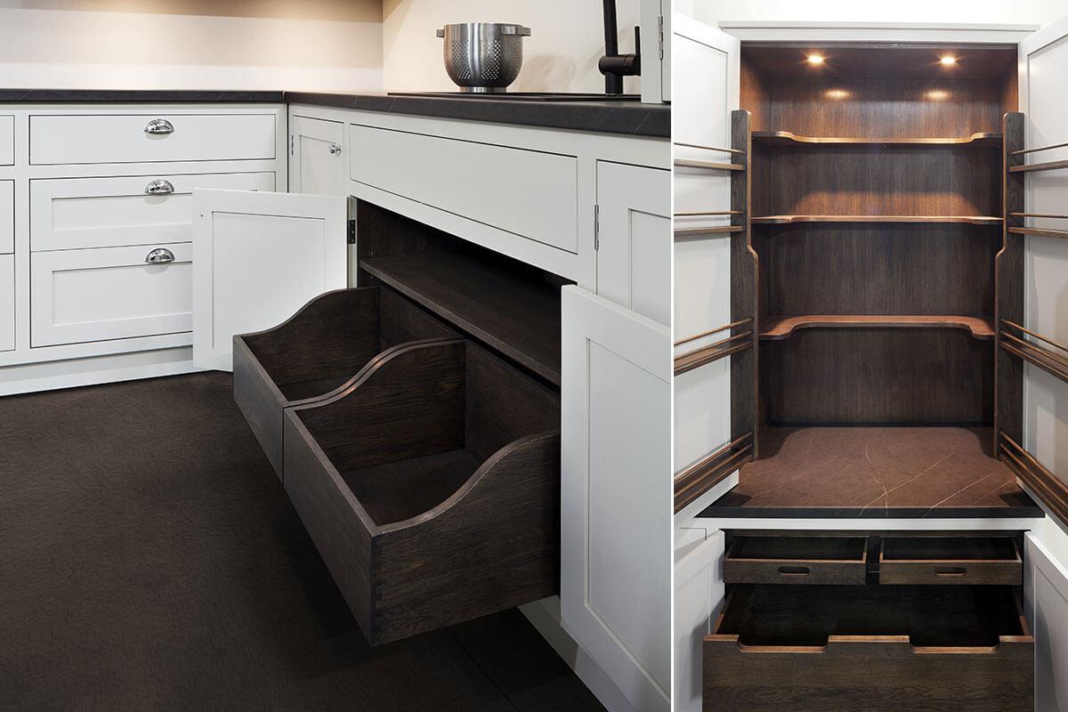 Zorganizowane miejsce w kuchni, bez wolnych centymetrów.